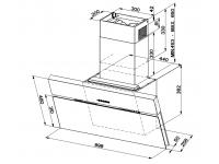 Кухонная вытяжка Faber ONYX-V BK GLASS/X A90